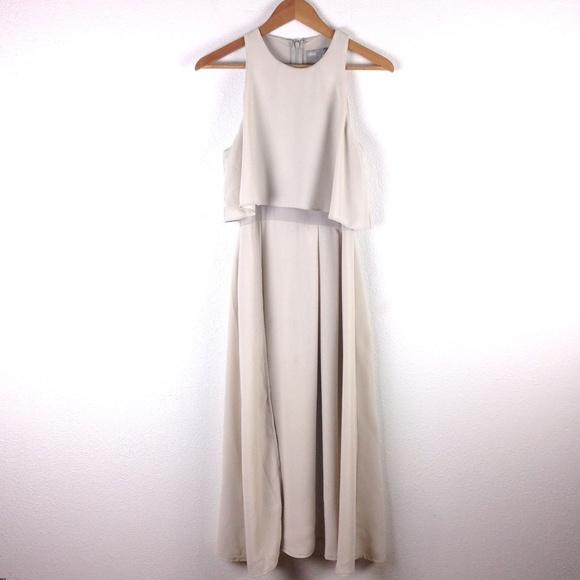 60ee3483b06b ASOS Dresses | Crop Top Thigh Split Midi Dress Taupe 6 Nwt | Poshmark
